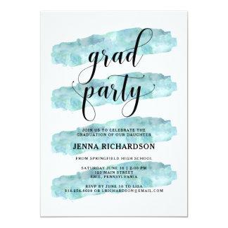 青の抽象芸術は|の卒業パーティーを縞で飾ります 12.7 X 17.8 インビテーションカード
