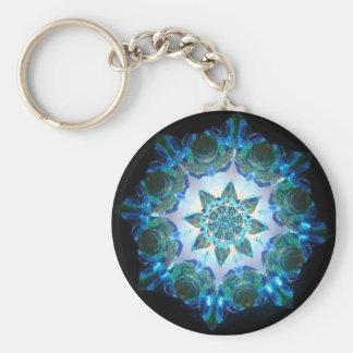 青の明るいネオンスターバストの万華鏡のように千変万化するパターン キーホルダー