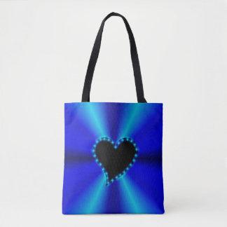 青の星との黒いハートは虹をgeen トートバッグ