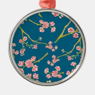 青の桜の桜のプリント メタルオーナメント