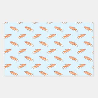 青の楽園の魚パターン 長方形シール