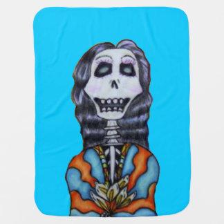 青の死んだ女性のSkeletonカラフルで幸せな日 ベビー ブランケット