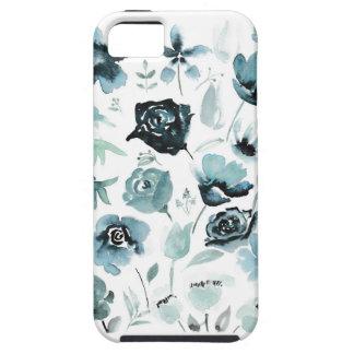 青の水彩画の花模様 iPhone SE/5/5s ケース