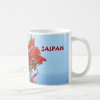 青の海のサイパンの炎の花 コーヒーマグカップ