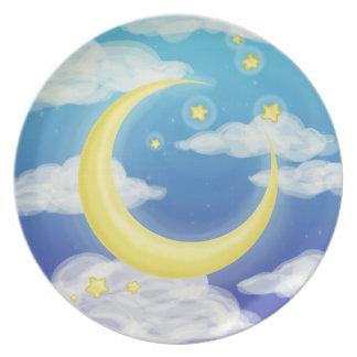 青の淡い色のな月 プレート