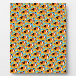 青の火のClownfishパターン フォトプラーク