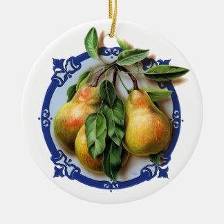 青の甘美なナシの円 セラミックオーナメント