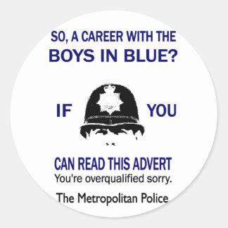 青の男の子とのそうキャリアか。 おもしろTシャツ ラウンドシール