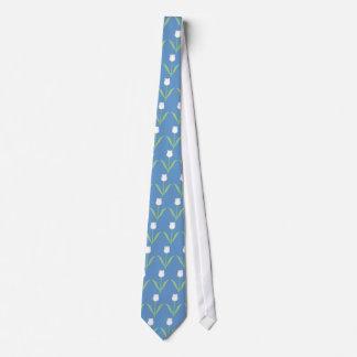 青の白いチューリップ ネクタイ