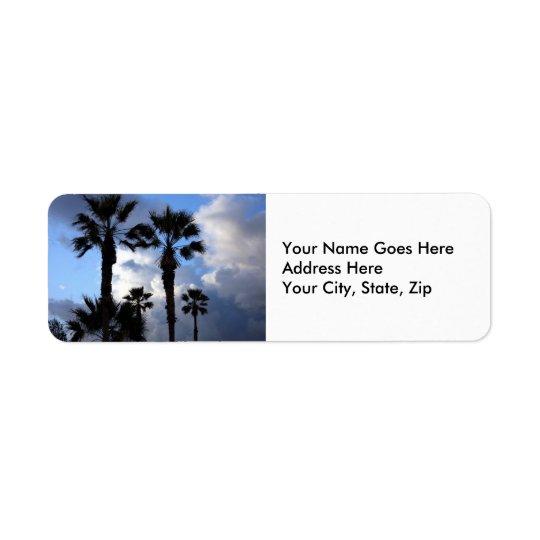 青の空およびヤシの木 返信用宛名ラベル
