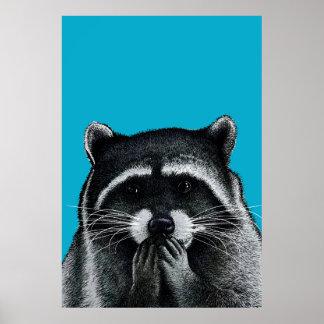 青の空腹なアライグマ ポスター