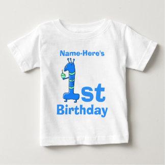 青の第1誕生日の漫画。 カスタムな名前 ベビーTシャツ