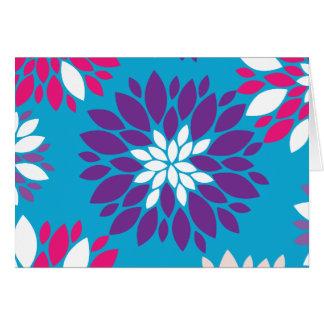 青の紫色のピンクの白い花の芸術 カード