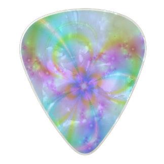 青の紫色の花 パールセルロイド ギターピック
