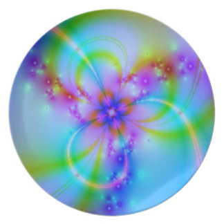 青の紫色の花 プレート