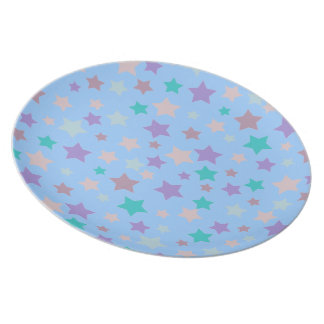 青の紫色の青く、ピンクの星パターン プレート