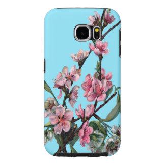 青の美しいピンクの春の花 SAMSUNG GALAXY S6 ケース