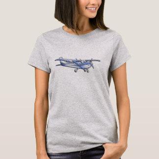 青の航空機のクロムセスナのシルエットの飛行 Tシャツ