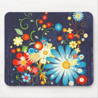 青の色の花の爆発 マウスパッド