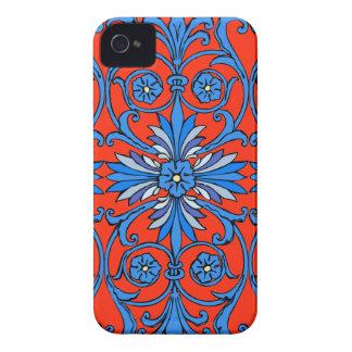 青の色合いのヴィンテージアールヌーボー Case-Mate iPhone 4 ケース