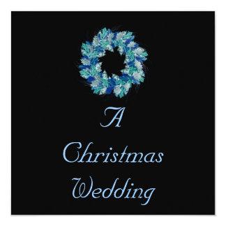 """青の色合いの""""クリスマスの結婚式""""の-リース カード"""