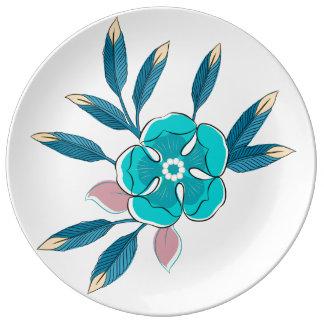 青の花の破裂音 磁器プレート