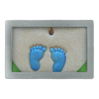 青の赤ん坊の足 長方形ベルトバックル