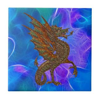 青の金ゴールドのウェールズのケルト族のドラゴンII タイル