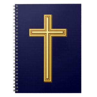 青の金ゴールドの十字 ノートブック