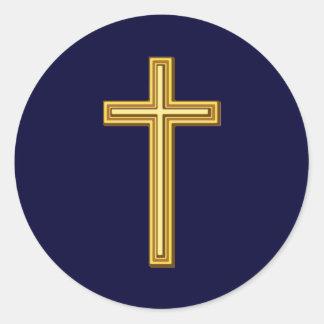 青の金ゴールドの十字 ラウンドシール