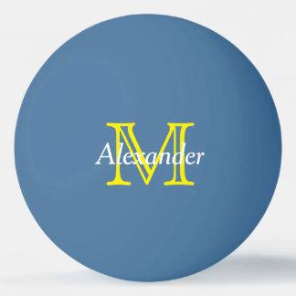 青の黄色および白いモノグラム 卓球ボール