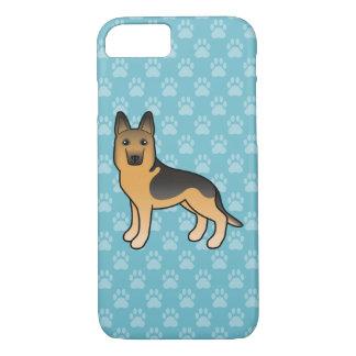 青の黒そしてタンのジャーマン・シェパード犬 iPhone 8/7ケース
