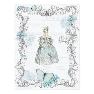 青の19世紀なファッションのヴィンテージの郵便はがき ポストカード