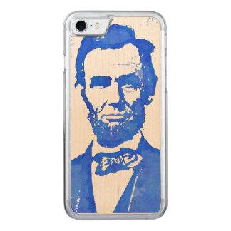 青のAbeリンカーンのポップアートのポートレート Carved iPhone 8/7 ケース