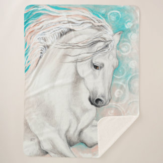 青のAndalusian馬 シェルパブランケット