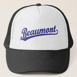 青のBeaumontの原稿のロゴ キャップ