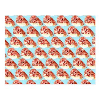 青のChamberedオウムガイパターン ポストカード