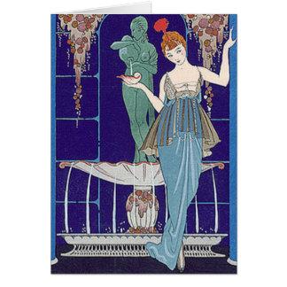 青のDecoの女性 グリーティングカード