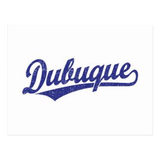 青のDubuqueの原稿のロゴ ポストカード