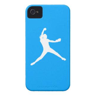 青のiPhone 4のFastpitchのシルエットの白 Case-Mate iPhone 4 ケース