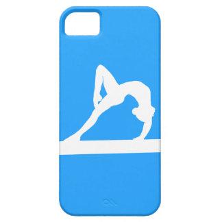 青のiPhone 5の体育専門家のシルエットの白 iPhone SE/5/5s ケース