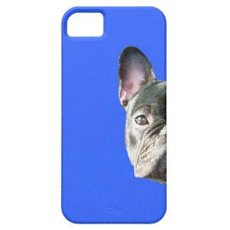 」青のIphone 5の場合をかいま見ているフレンチ・ブルドッグ「 iPhone SE/5/5s ケース