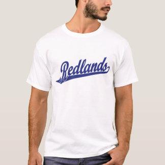 青のRedlandsの原稿のロゴ Tシャツ