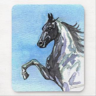 青のSaddlebredの馬のマウスパッド陰 マウスパッド
