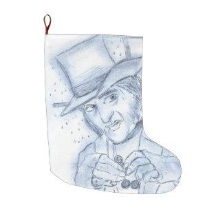 青のScrooge ラージクリスマスストッキング