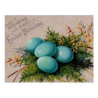 青はイースター挨拶に卵を投げつけます ポストカード