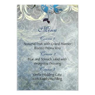 青は冬の結婚式メニューを去ります カード