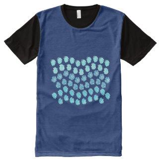 青は印刷されたTシャツをくまなく人を振ります オールオーバープリントT シャツ