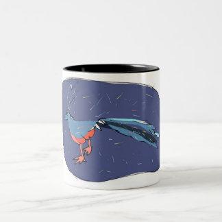 青は孔雀に羽をつけます ツートーンマグカップ