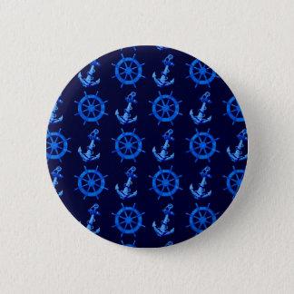 青は車輪およびいかりを出荷します 5.7CM 丸型バッジ